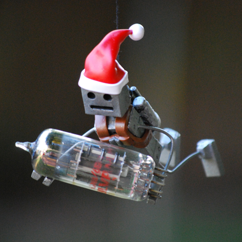 Santa Robot with Vacuum Tube Ornament